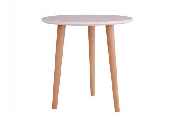 Soku Rundt sofabord - H: 47 cm - Hvid/natur