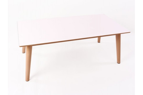 Image of   Sille Sofabord - hvid med naturfv. ben - 120 x 60 cm