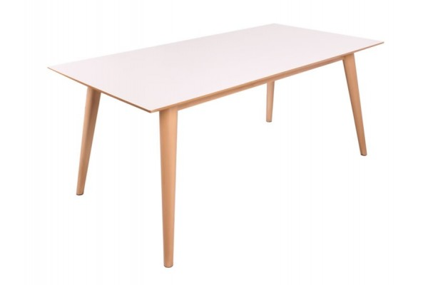 Image of   Sille Spisebord - Hvid m/naturfv. ben - 90 x 180 cm