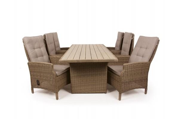 1.Siesta Dusty Havemøbelsæt m/6 pos stole - 94x210 cm