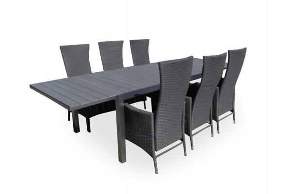 Lotte Havemøbelsæt - 100 x 200/300 cm - grå