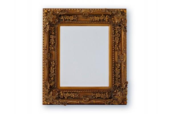 Spejl m/facetslebet glas - Antikguld - 83x93 cm