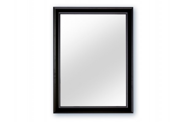 Spejl m/facetslebet glas - Sort - 90 x 120 cm