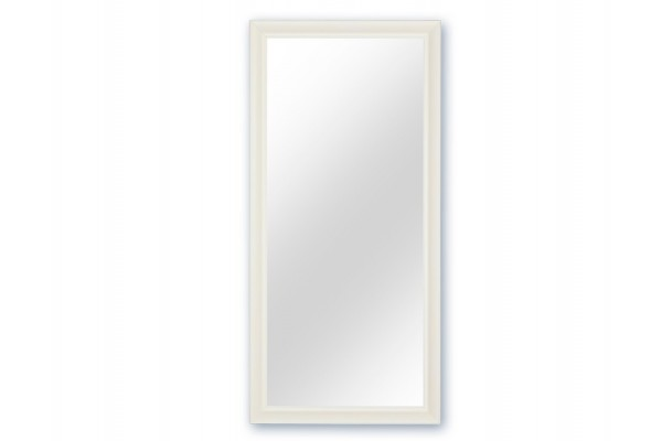 Spejl m/facetslebet glas - Hvid - 90 x 190 cm