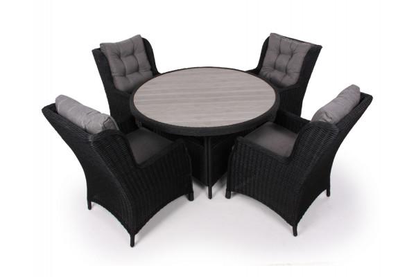 Image of   1. Siesta Sort Havemøbelsæt m/4 loungestole - Ø 130 cm
