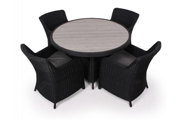 Siesta Sort Havemøbelsæt m/4 spisestole - Ø 130 cm