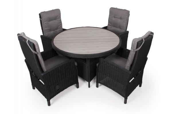1.Siesta Sort Havemøbelsæt m/4 pos stole - Ø 130 cm