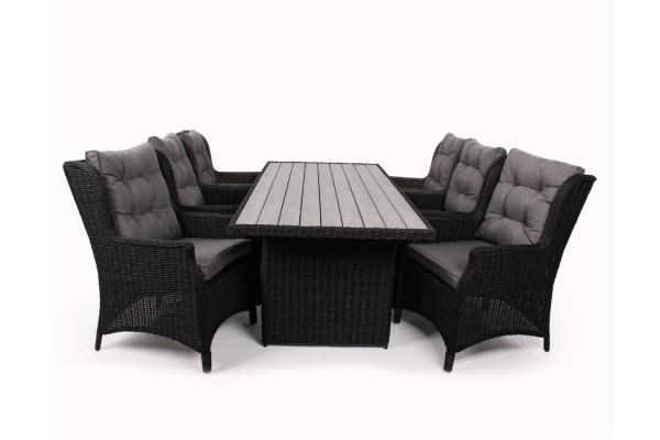 Image of   1.Siesta Sort Havemøbelsæt m/6 loungestole - 94x210 cm