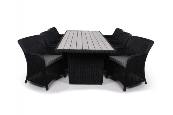 1.Siesta Sort Havemøbelsæt m/6 spisestole - 94x210 cm