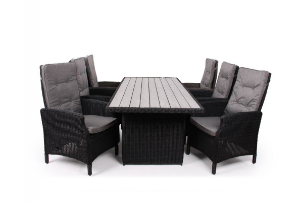 1.Siesta Sort Havemøbelsæt m/6 pos stole - 94x210 cm