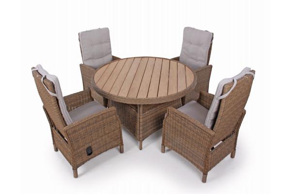 1.Siesta Dusty Havemøbelsæt m/4 pos stole - Ø 130 cm