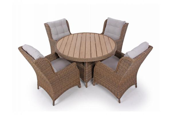 1. Siesta Dusty Havemøbelsæt m/4 loungestole - Ø 130 cm