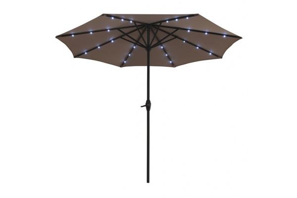 3 meter parasol med lys og solar