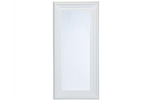 Image of   Spejl m/facetslebet glas - Hvid m/sølv - 90 x 190 cm