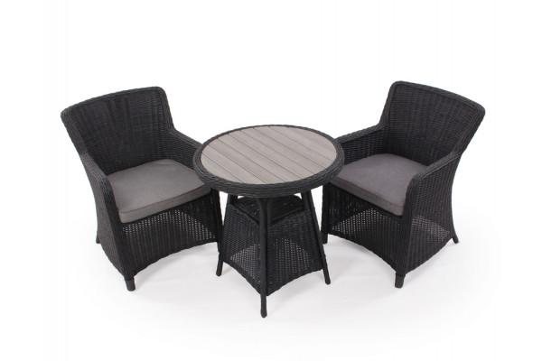 Image of Siesta Sort Cafesæt m/2 spisestole - Ø 70 cm