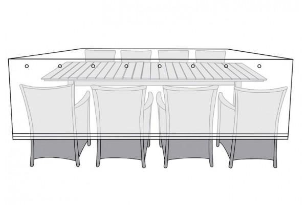 Overtræk (150x300) til bord med 8 stole