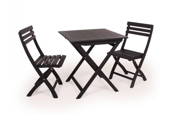 Amalienborg Cafesæt u/armlæn - 70x70 cm - Sort